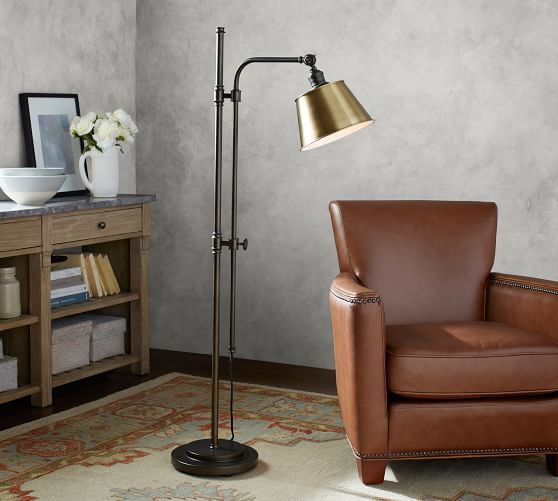 Custom Articulating Floor Lamp With Tapered Metal Shade Floor