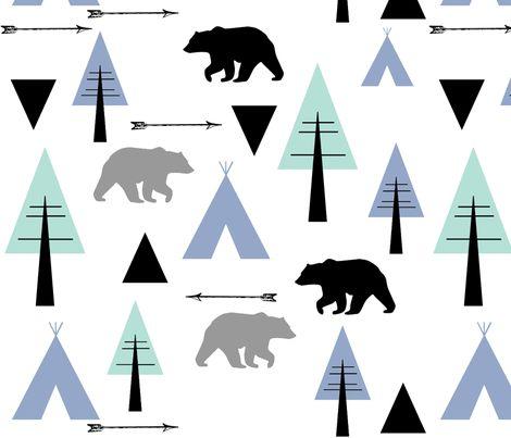 bear camp fabric by buckwoodsdesignco on Spoonflower - custom fabric
