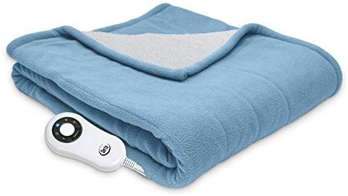 Amazon Com Serta Reversible Sherpa Fleece Heated Electric Throw