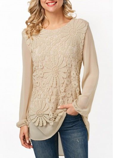 Long Sleeve Lace Panel Beige Blouse on sale only US$30.95 now, buy cheap Long Sleeve Lace Panel Beige Blouse at Rosewe.com