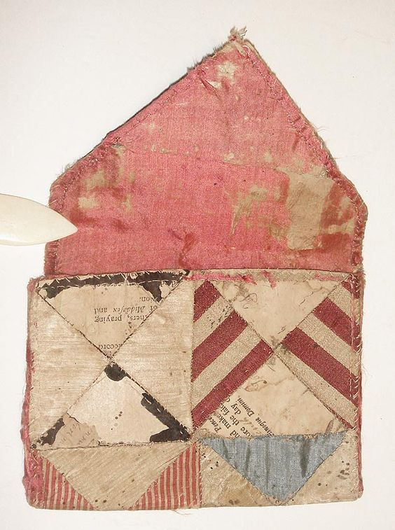 "wallet | silk + book pages used as backing | 6"" x 4-3/4"" 