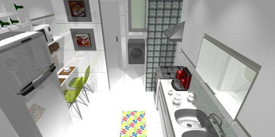 Cozinha e área de serviço ao fundo...