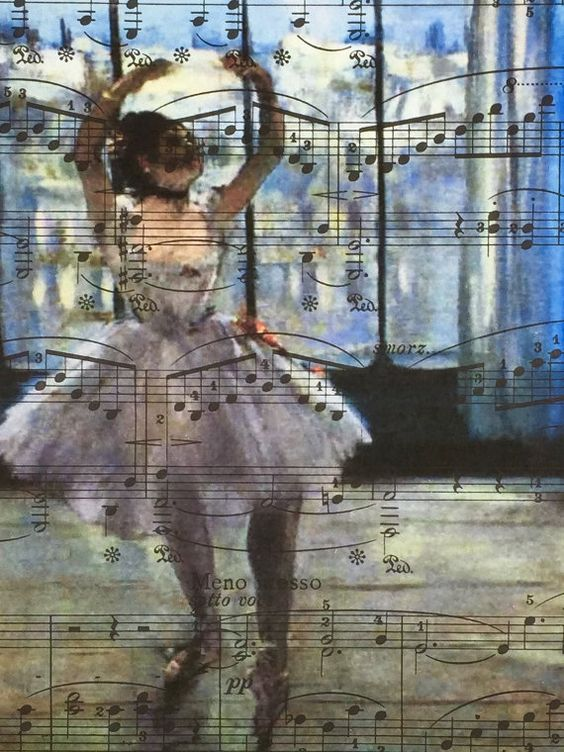 Degas, Dancer at the Photographer, Sheet Music Poster, Chopin Music Print, Book Art, Dorm Room, Wall Decor, Home Staging