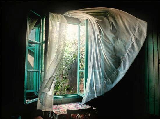 Image result for open window with curtains blowing