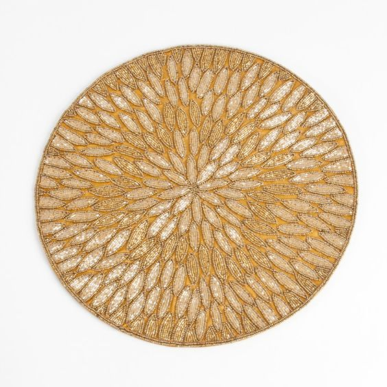 Saro Beaded Design Placemats ($90) ❤ liked on Polyvore featuring home, kitchen & dining, table linens, gold, teal placemats, beaded place mats, round beaded placemats, white place mats and beaded table linens