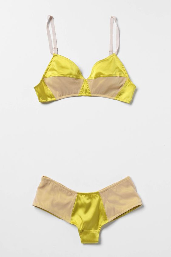 lemon colored bra of satin