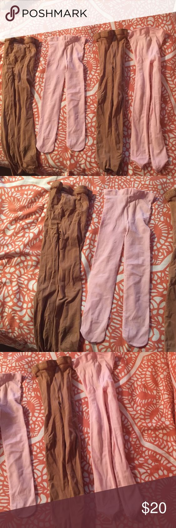 Little girl tights, 4 pairs All 4 pairs are used but in good condition, 2 pink and 2 suntan. The suntan are body wrappers Accessories Hosiery & Socks