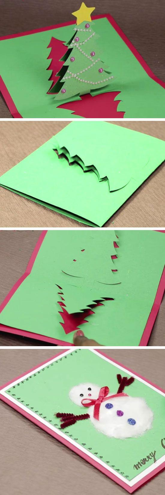 Diy Pop Up Christmas Card With Tree And Snowman Pop Up Christmas Cards For Kids To Make Diy Weihnachtskarten Gestalten Weihnachtskarten Basteln Weihnachten