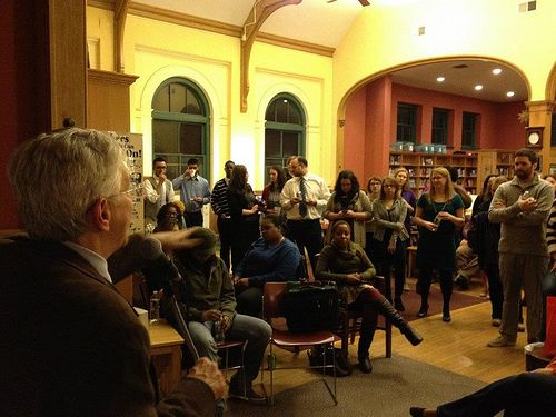 Dick Cook of the University of Maryland tells the story of how the community rallied together to create the Village Learning Place, a community library and site of book launch in Baltimore: Community Library, Maryland Tells, Book Launch, Dick Cook, Village Learning, Learning Place, Community Rallied, Photo
