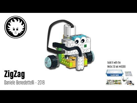 Zigzag Is A Lego Wedo 2 0 Robot That Can Move And Steer Using A Single Motor It Can Follow Lines Or Be Remote Controlled Click Lego Wedo Lego Lego Mindstorms
