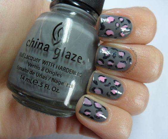 Gray & Pink Leopard mani