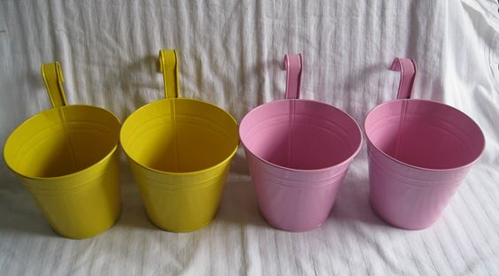4Pcs/Lot Big Size 14.5*10*12.5cm pure garden bucket tin box Iron pots flower metal Hanging Planter