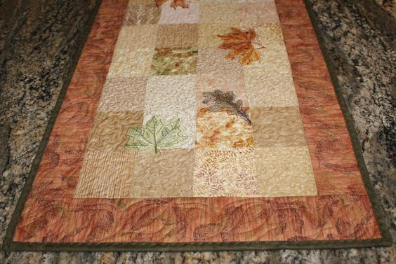 Autumn Leaves Wall Hanging or Table Runner by QuiltSewPieceful, $60.00