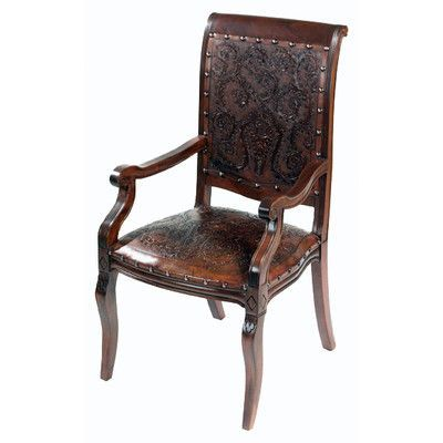 New World Trading Colonial Imperial Leather Arm Chair (Set of 4)