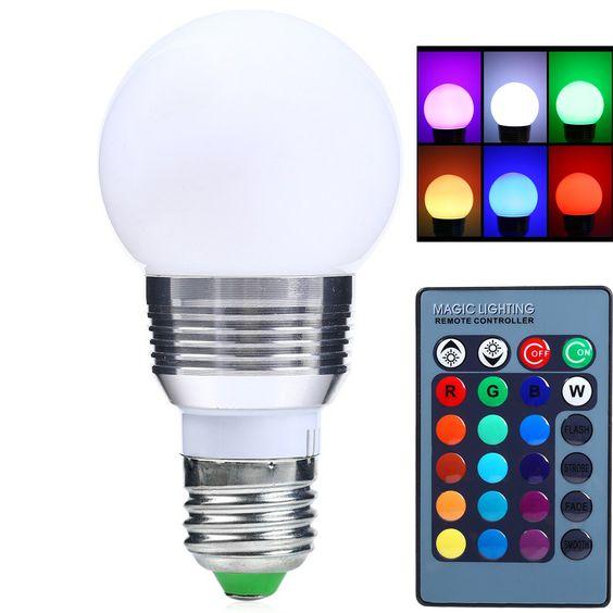 Dimmable Remote Control 3W E27 LED Light Bulb AC85-265V