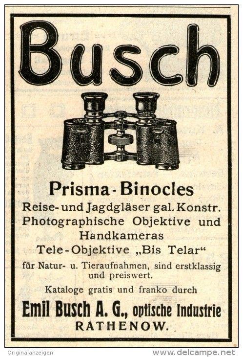 Original-Werbung/ Anzeige 1911 - BUSCH PRISMA - BINOCLES / RATHENOW -  ca. 70 x 100 mm
