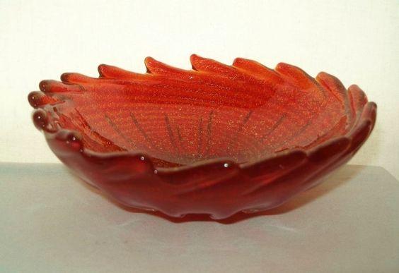 RARE Foglia Corallo Oro MURANO Glass BOWL Archimede Seguso MID CENTURY Treasure