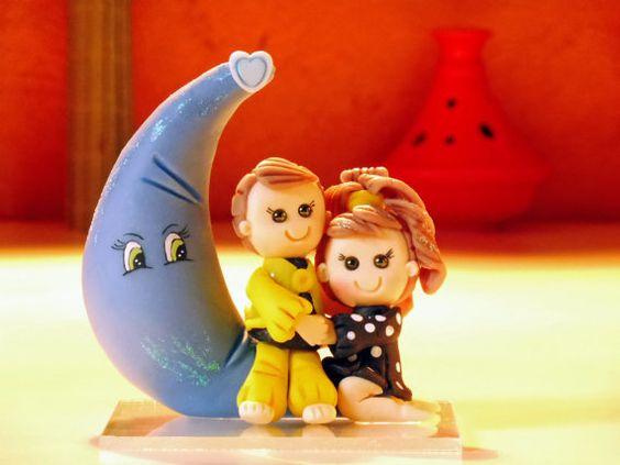 Coppia sposata al lato della luna fatto a mano con di elagiftidea