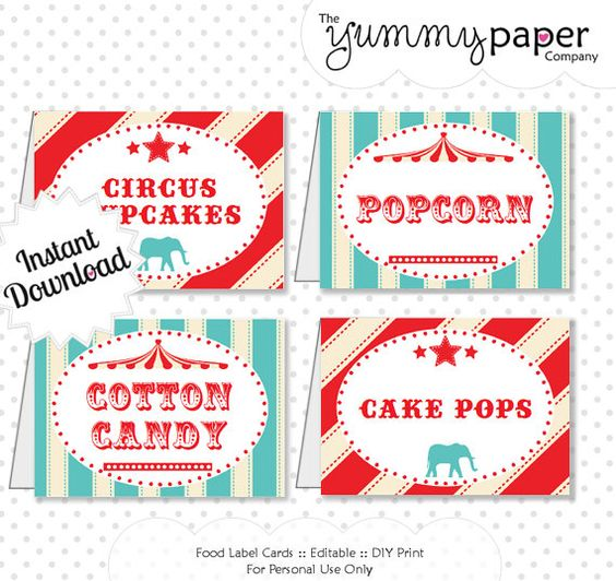 Circus party foods vintage circus party and vintage circus on pinterest - Carnival party menu ...