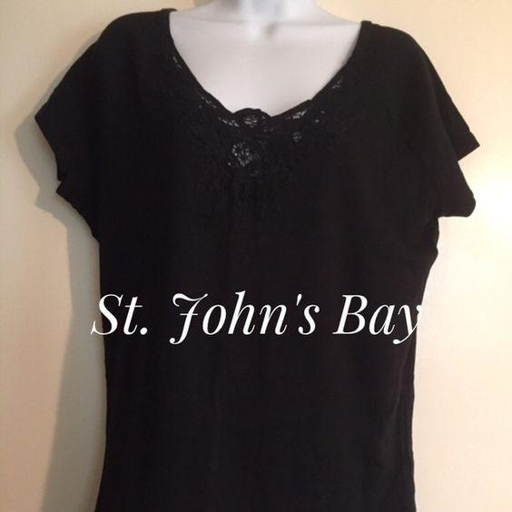 St. John's Bay top Black St. John's Bay extra-large top short sleeve with lace St. John's Bay Tops Tees - Short Sleeve