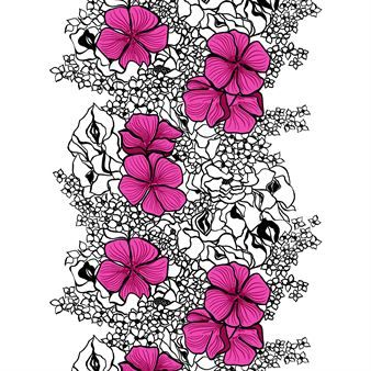 The Elle curtain is by the Finnish design brand Vallila with a wonderful retro-inspired design. The pattern was designed by Marjatta Metsovaara and depicts ranking flowers in strong accent colors. A beautiful addition to a kitchen or living room. Available in different colors.