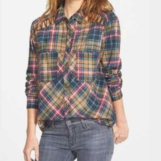 Free People Flannel Stitch detail. Nordstrom exclusive. I do not trade. Free People Tops Button Down Shirts