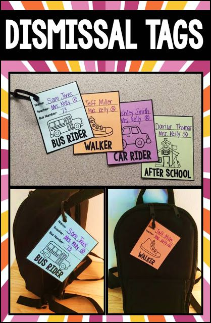 Use these dismissal tags to keep track of your kiddos at the end of the day and make sure no one gets lost!