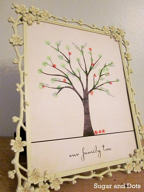 Absolutely gorgeous family tree template from Sugar and Dots. Just print it out and fingerprint the leaves.