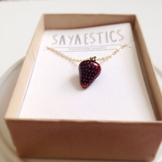 Strawberry charm necklace red charm necklace fruit necklace food jewelry red strawberry jewelry fruit charm necklace by Sayaestics on Etsy