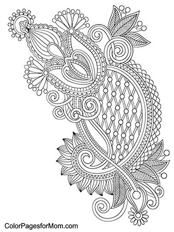 Advanced Abstract Coloring Pages : Paisley abstract doodle zentangle coloring pages colouring