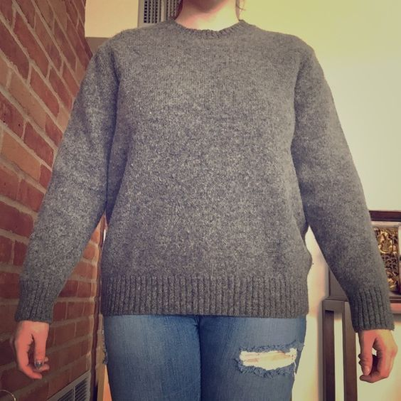 L. L. Bean Gray Wool Sweater 100% Shetland wool! Very warm! Only condition issue is tiny hole pictures in the the second image. Offers and trades welcome! L.L. Bean Sweaters Crew & Scoop Necks