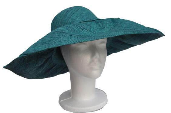 Dark Green Raffia Flexible Sun Hat : That Way Hat. New, Hand Crafted and Custom Millinery - Online