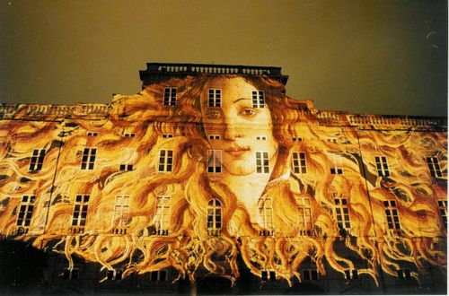 Botticelli's Venus as part of a slide show on buildings during the Festival of Lights in Lyon, France.