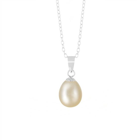 Alchemy Jewelry Sterling Silver Cream Freshwater Teardrop Pearl... ($16) ❤ liked on Polyvore featuring jewelry, necklaces, silver, sterling silver pearl necklace, sterling silver necklaces, chain necklace, sterling silver chain necklace and long pearl necklace