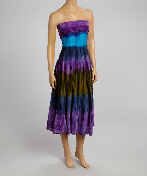 Love this Purple & Blue Tie-Dye Strapless Dress by Fashion on the Run on #zulily! #zulilyfinds