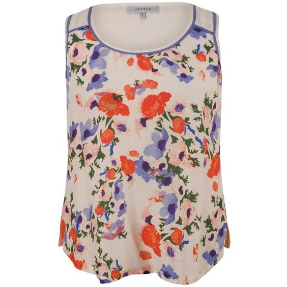 Chesca Small Floral Print Camisole Top, Cream (€54) ❤ liked on Polyvore featuring tops, plus size tank tops, plus size tanks, sleeveless tops, pink camisole and women's plus size tops