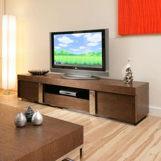 Large Television Cabinet Entertainment Unit Center Elm