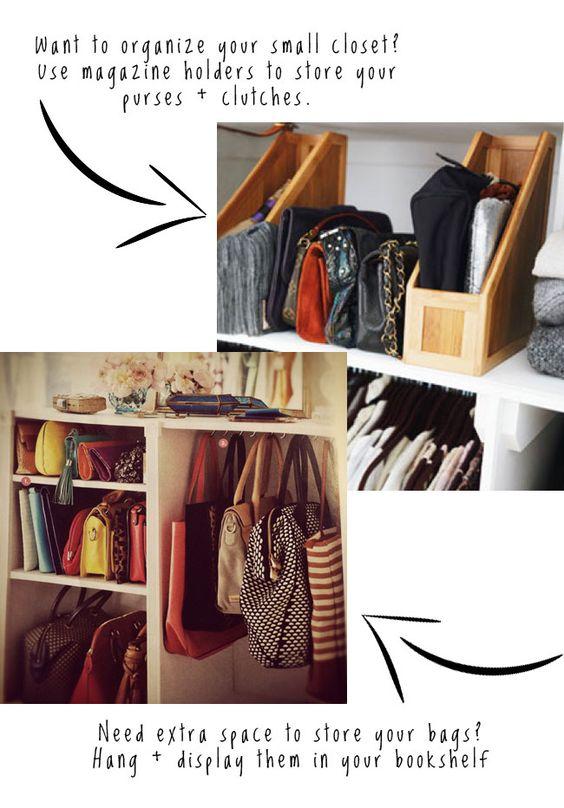 Organizing handbags.