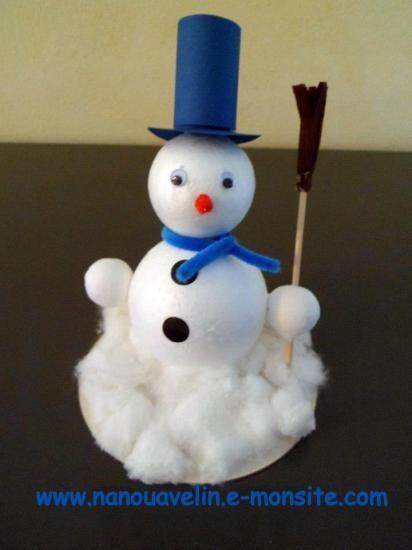 Bonhomme de neige en polystyr ne bricolage enfant no l - Bricolage pour enfant de noel ...