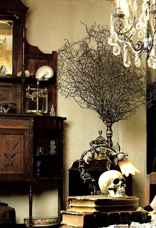 Dark walnut stained wood, skull, and old books as home decor
