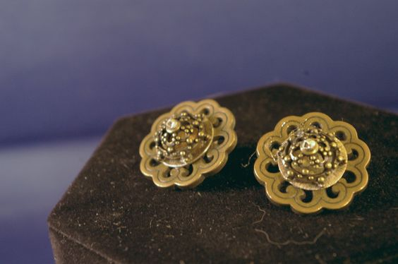 Brass Dome Button Post Earrings by MLRanchJewelry on Etsy