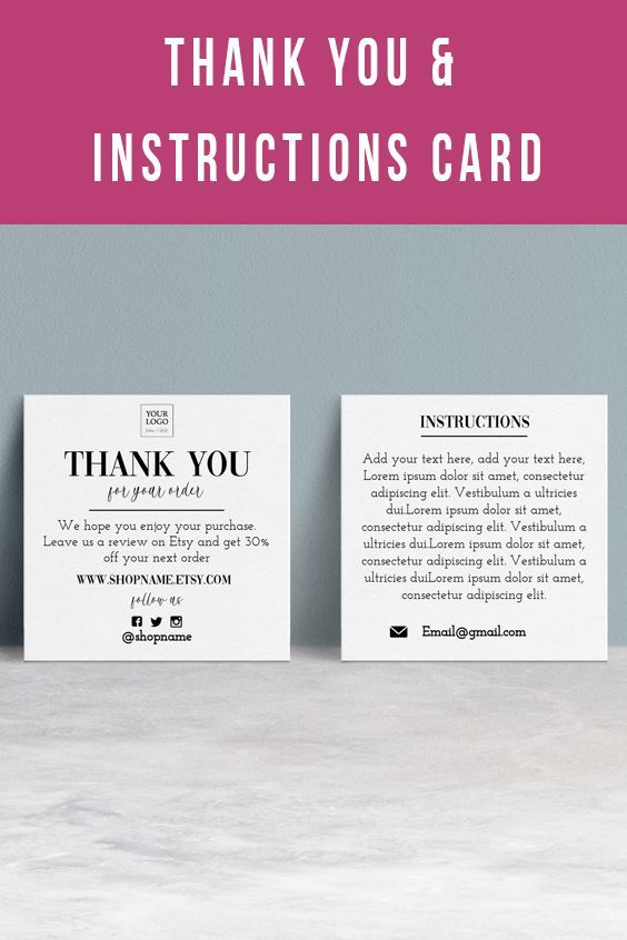 Double Sided Thank You Card With Instructions Minimal Black And White 2 5 X 2 5 Thank You Cards Cards Purchase Card