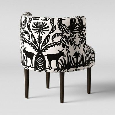 Clary Curved Back Accent Chair Black White Animal Print