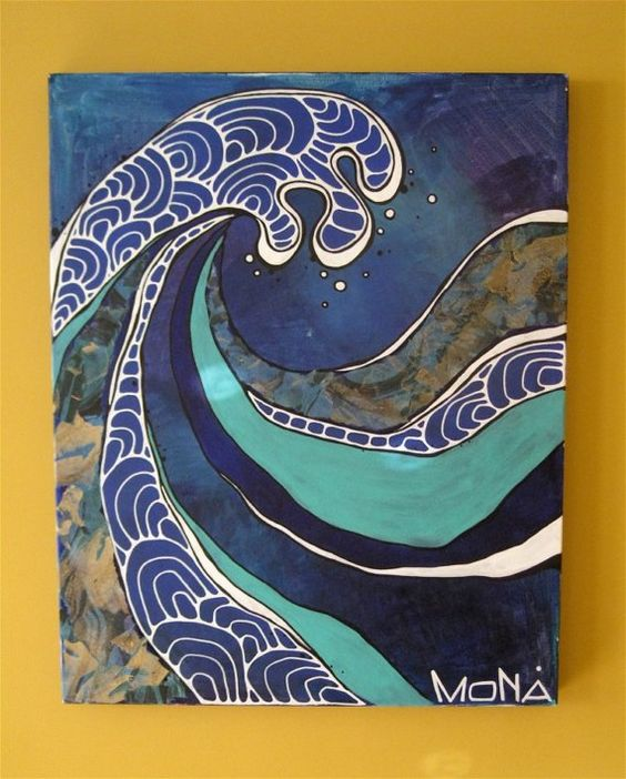 Japan Art unit - it would be fun to do textured waves in a cool color scheme when we study line in The Great Wave of Kanagawa Nami-Ura.: