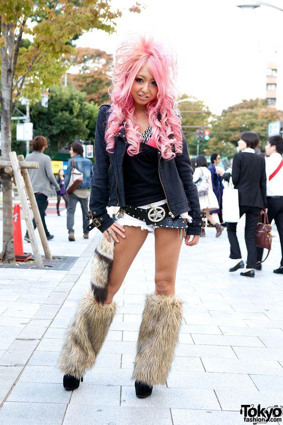 Harajuku Gal W Rainbow Eye Makeup Silver Hair In Anap: SEXY Kuro Gyaru Fashion In Shibuya