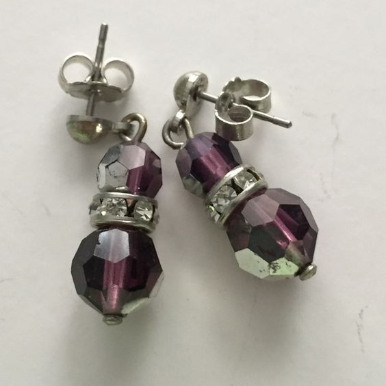 Violet and silver iridescent crystal drop earrings Violet and silver iridescent drop earrings Jewelry Earrings