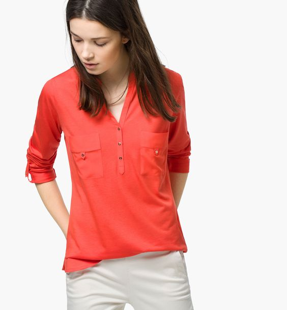 MANDARIN-COLLAR POLO SHIRT - T-shirts - WOMEN - United States of America / Estados Unidos de América