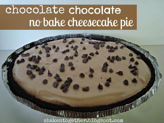 chocolate chocolate no bake cheesecake pie