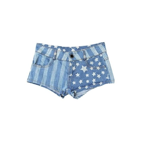 Hot Star And Vertical Stripe Print Denim Shorts (66 CAD) ❤ liked on Polyvore featuring shorts, short jean shorts, denim shorts, zipper shorts, jean shorts and star denim shorts