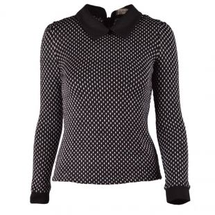 Wholesale Black Womens Peter Pan Collar Long Sleeve Back Zipper Knitting Tops Blouse B607